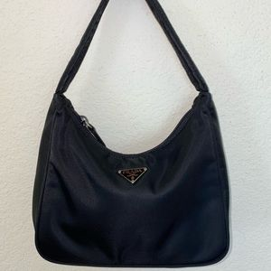 NEW '00 Prada Black Nylon Mini Pochette Bag